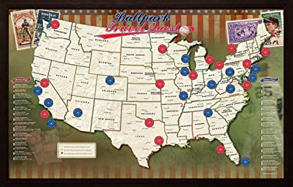 Map Of Us Ballparks Amazon.com: Ballpark Travel Quest Map: Posters & Prints