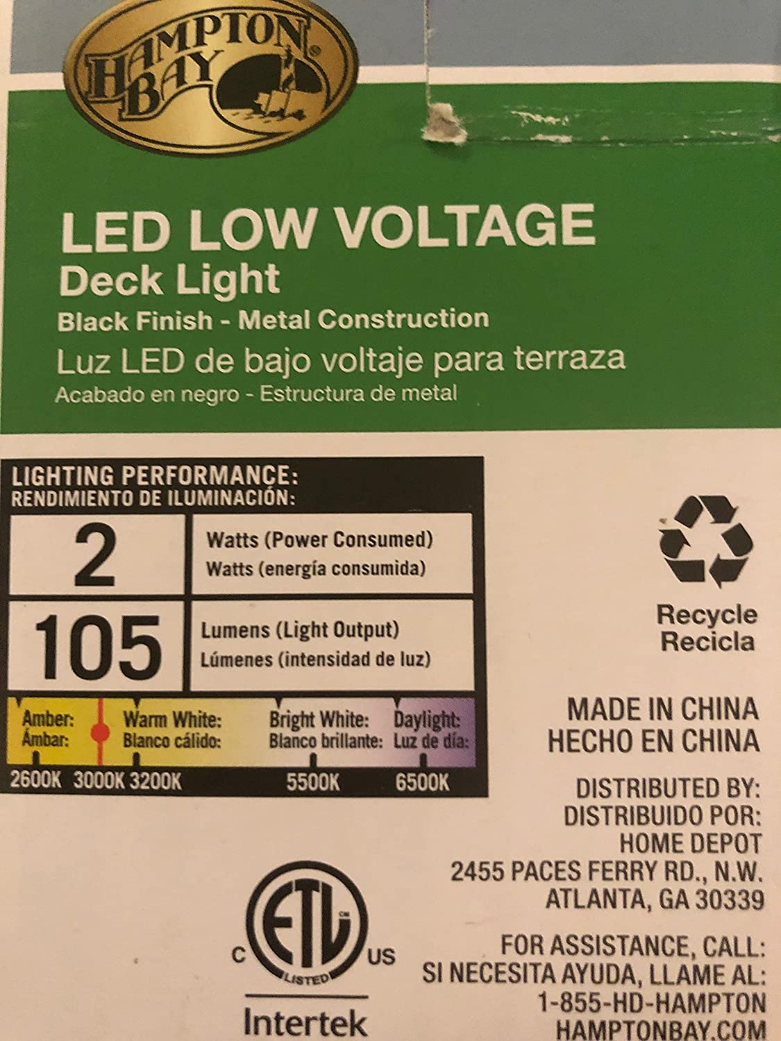 Hampton Bay Low-Volt Black Outdoor Integrated LED Surface Mount Light 1001488968