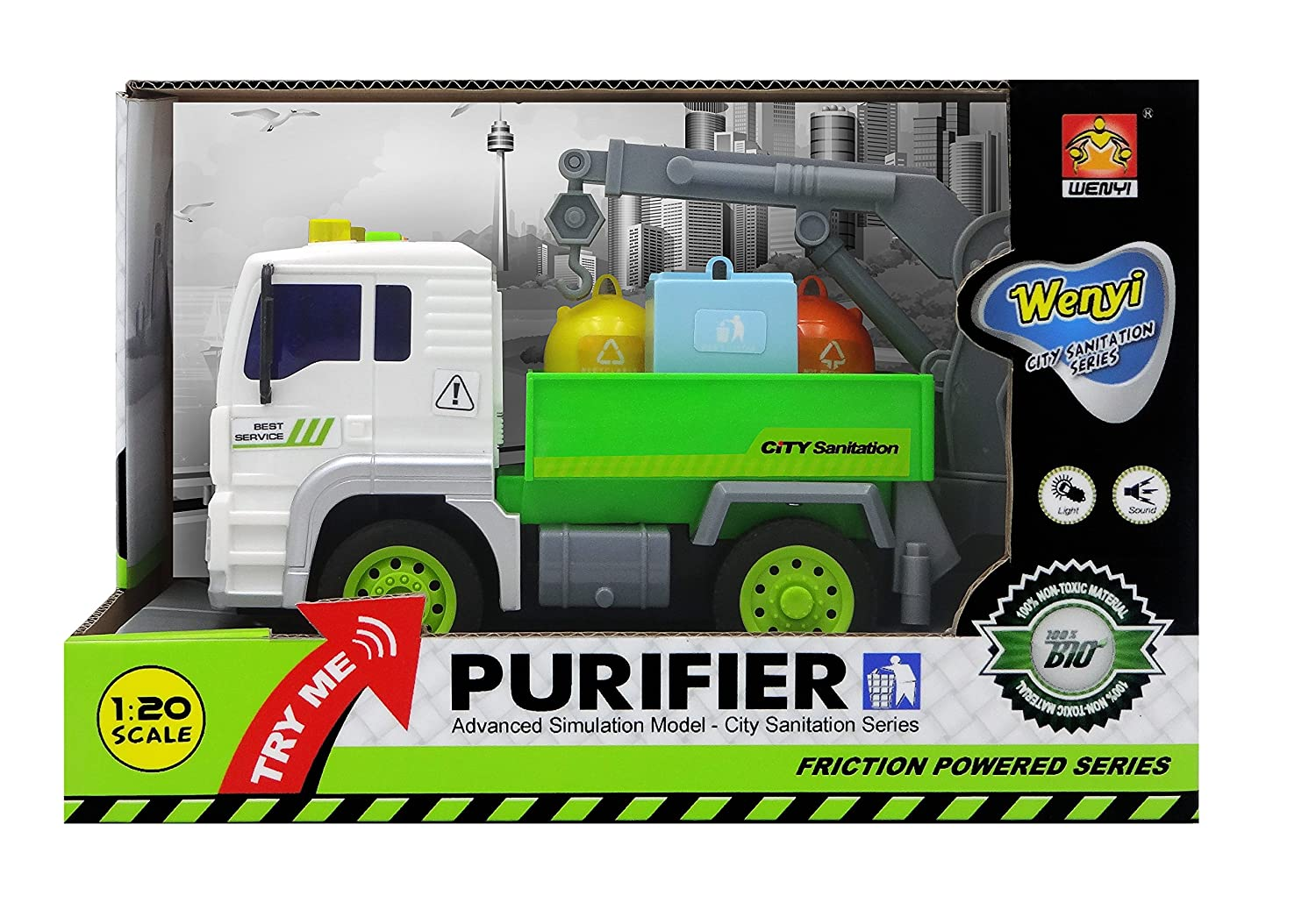 Get ready garbage truck coloring book - Amazon Com Funerica Trade Garbage Truck Toy With Sound Effects Lights Swivel Crane For Loading 3 Colored Sanitation Garbage Cans Strong Friction