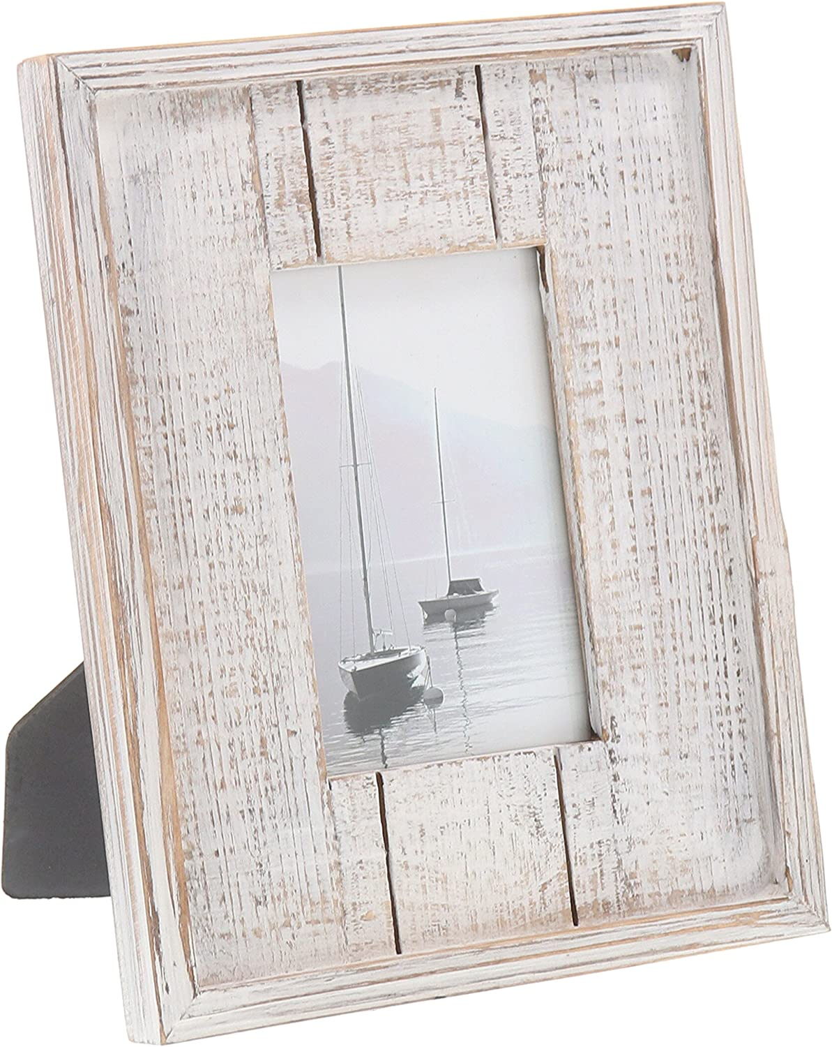 """Barnyard Designs Rustic Distressed Picture Frame 4"""" x 6"""" Wood Photo Frame in White"""