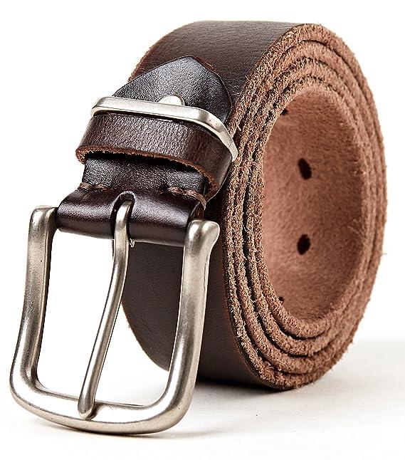 3ZHIYI cinturón hombre de cuero negro hebillas Plateada,cinturón de los pantalones vaqueros de la prima para el ocio
