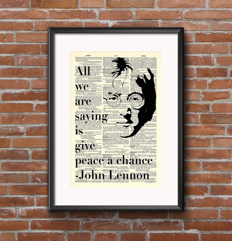 Amazon John Lennon Give Peace A Chance Quote 8x11 Vintage