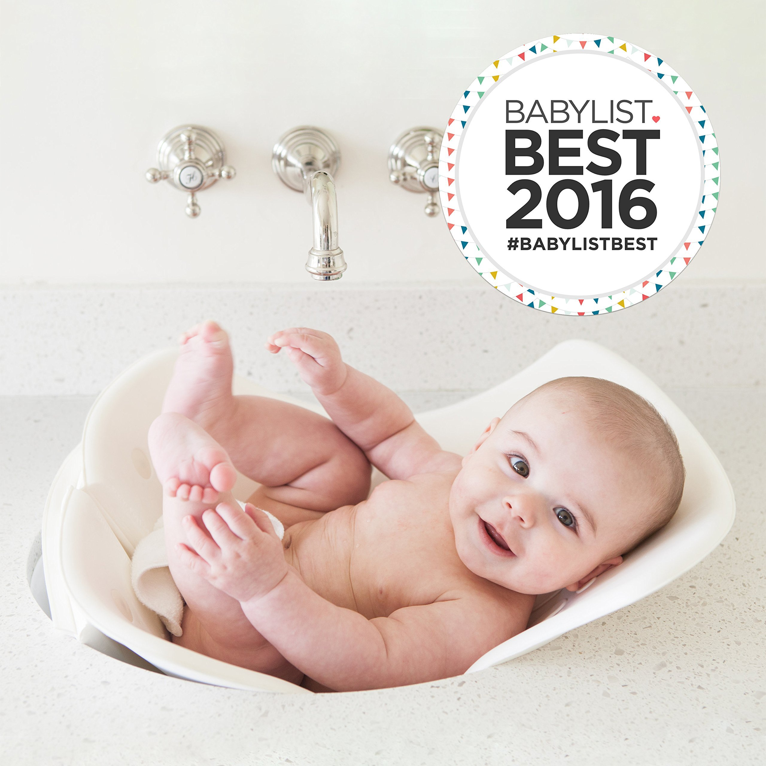 Puj Tub - The Soft, Foldable Baby Bathtub - Newborn, Infant, 0-6 Months, In-Sink Baby Bathtub, BPA free, PVC free (White) by Puj