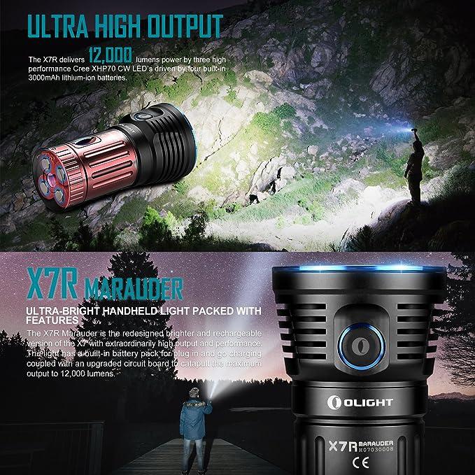 Olight X7R Marauder Torches Super Bright Powerful Torch Max 12,000 Lumens  Rechargeable Flashlight 3 x Cree XHP70 CW LED Torch Lamp, USB Charging Por