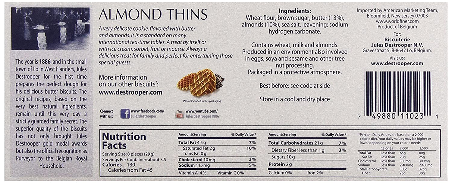 Amazon.com: Jules Destrooper Almond Thins, Belgian Almond Butter Cookies, 3.5-Ounce Box