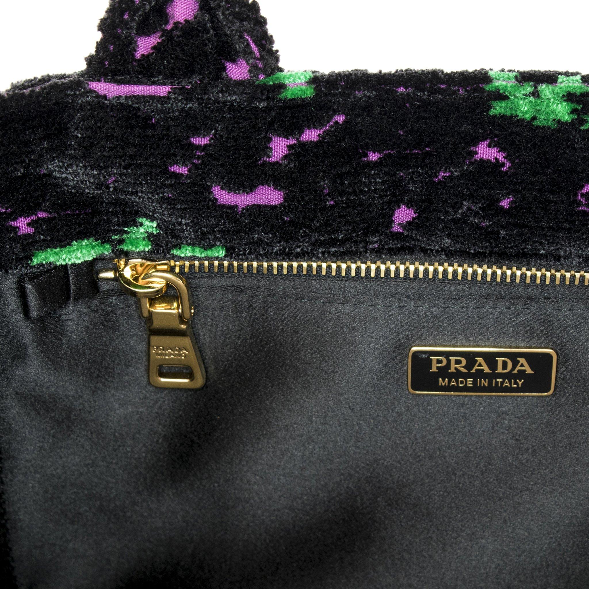 Prada Women's Green and Fuschia Flowers Velvet Handbag Black