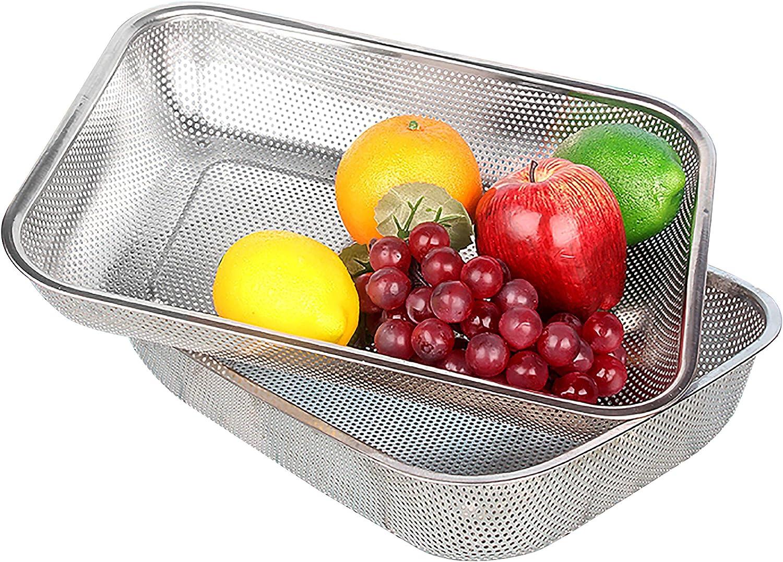 Cedilis 2 Pack Stainless Steel Colander Strainer, Rectangle Mesh Drainer Sink Basket for Vegetable Fruit Food, Large(15