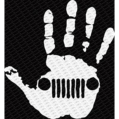 "Jeep Wave Hand Vinyl Decal Sticker fits Jeep Wrangler Rubicon JK TJ YJ CJ (6"", White): Automotive"