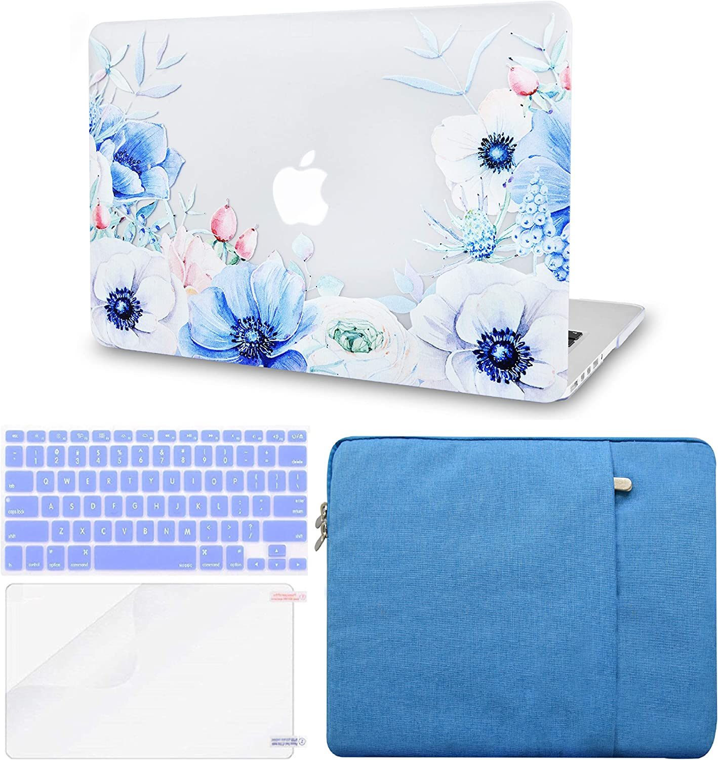 LuvCase 4 in 1 Laptop Case Compatible with MacBookAir 13 Inch (2010-2017) A1466/A1369 (No Touch ID) HardShellCover, Sleeve, Keyboard Cover & Screen Protector(Blue and White Poppy)