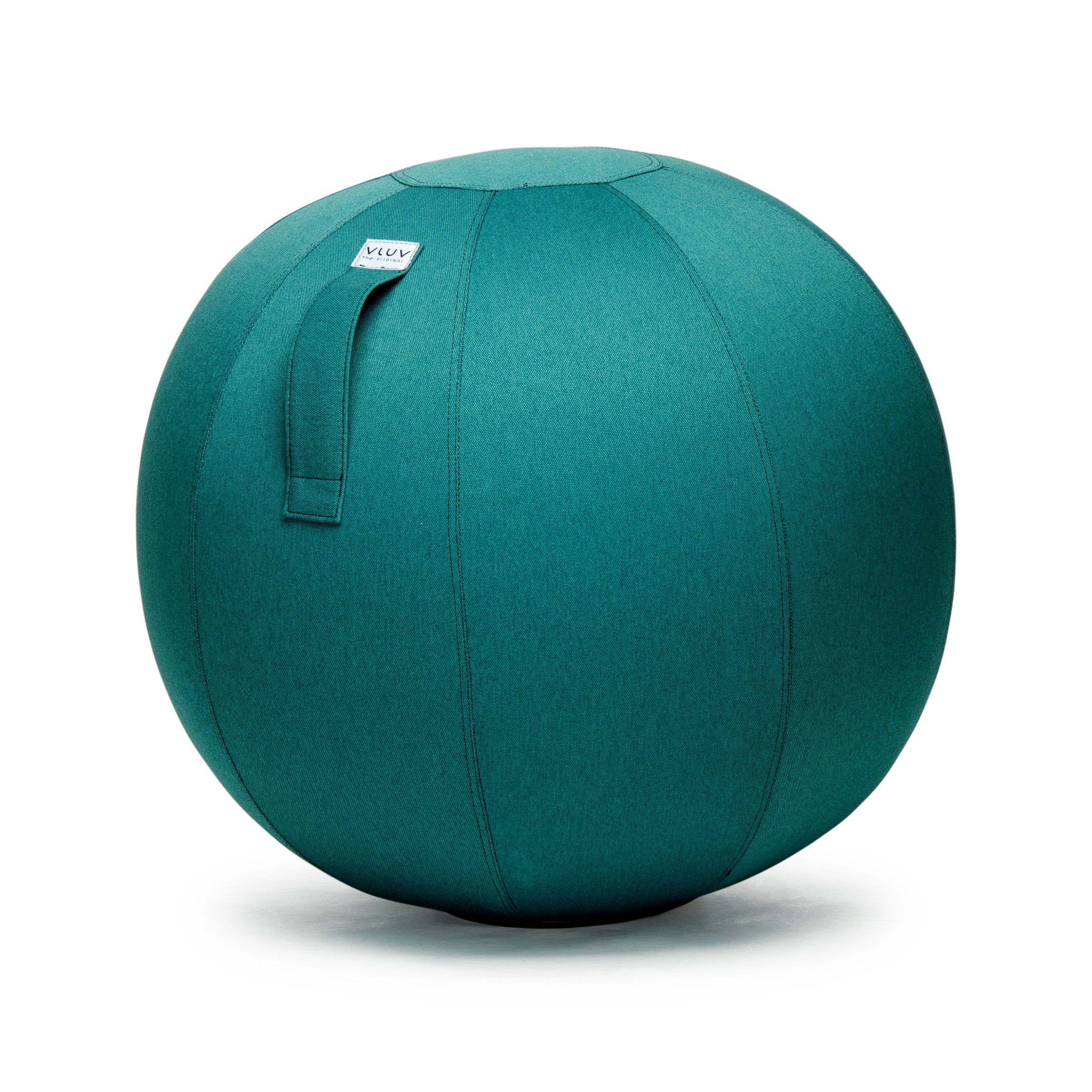 VLUV LEIV 29.5'' Premium Quality Self-Standing Sitting Ball with Handle - Home or Office Chair and Exercise Ball for Yoga, Stretching, or Gym Stone Colored Canvas Fabric (Petrol Colored, 25.6'')