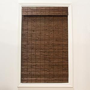 "Radiance Cordless Cocoa Dockside Flatstick 29"" X 64"" Bamboo Roman Shade, 29"" x 64"