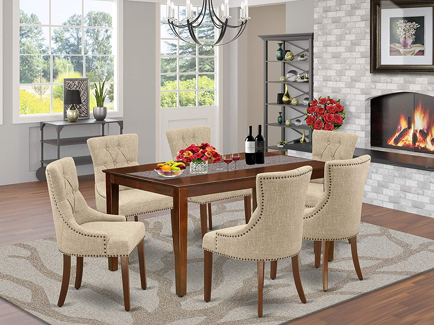 East West Furniture 7Pc Dinette Set Includes a Rectangular Kitchen Table and Six Parson Chairs with Doeskin Fabric, Mahogany Finish