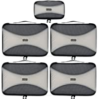 (Silver Grey) - Pro Packing Cubes 5 Piece Set Lightweight & Durable Travel Cube Get 30% Compression Ideal for Saving Space & Beating Luggage Restrictions (Silver)