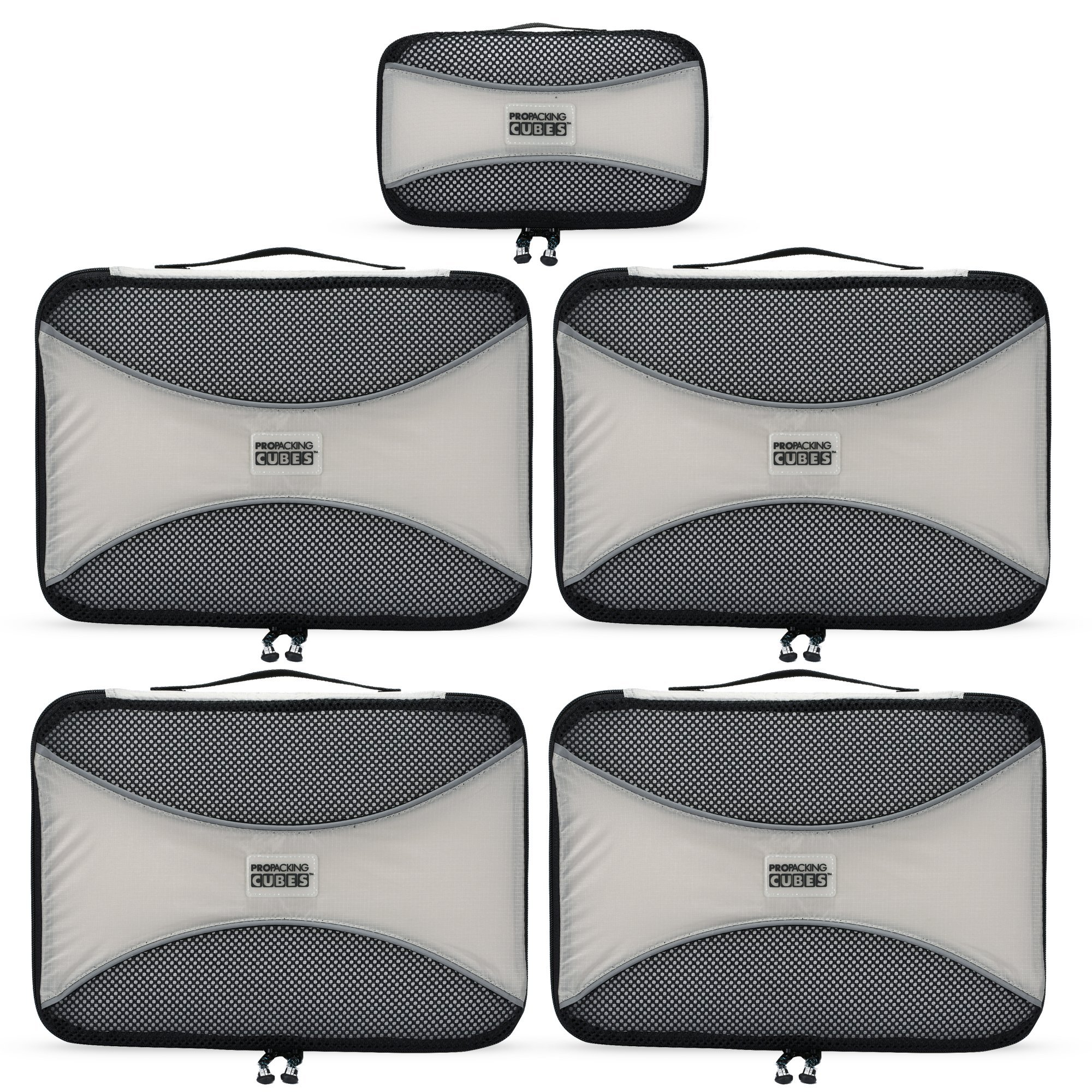 PRO Packing Cubes - 5 Piece Medium Ultra Lightweight Travel Packing Cubes Set - Organizers and Compression Pouches System for Carry-on Luggage Accessories, Suitcase and Backpacking (Silver Gray)