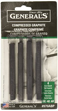2B General Pencil Compressed Graphite Sticks 4/Pkg Black 4B & 6B