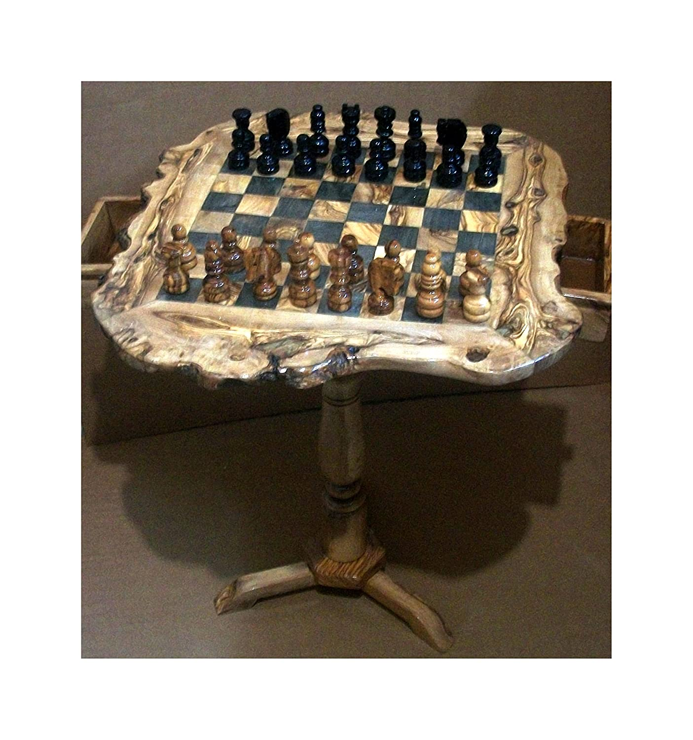 Olive Wood Rustic Chess Set With Stand   60 Cm: Amazon.co.uk: Kitchen U0026 Home