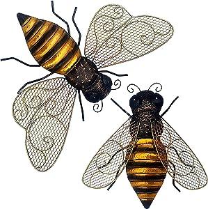 Metal Bumblebee Décor; Indoor Outdoor Metal Wall Art; 2 Beautiful Metal Bee Decorations for Home or Garden Wall Art; Backyard Decor for Fence, Patio, Porch or Inspirational Bee Kitchen Decor; Ekhaya