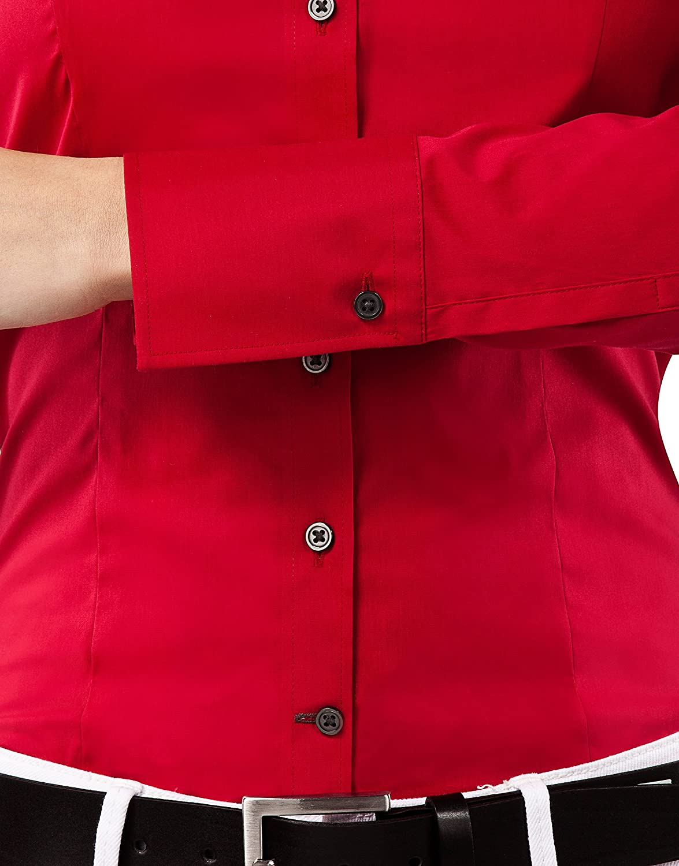 in Tinta Unita Vincenzo Boretti Camicia-Blusa Donna Elegante Taglio Aderente//Slim-Fit Facile da Stirare Collo Classico Elastica-Stretch Easy Iron Manica-Lunga