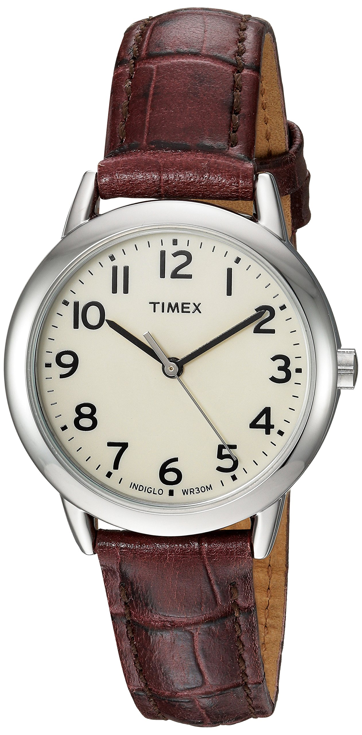 Timex Women's TW2R30300 Easy Reader Croco Pattern Brown Leather Strap Watch by Timex