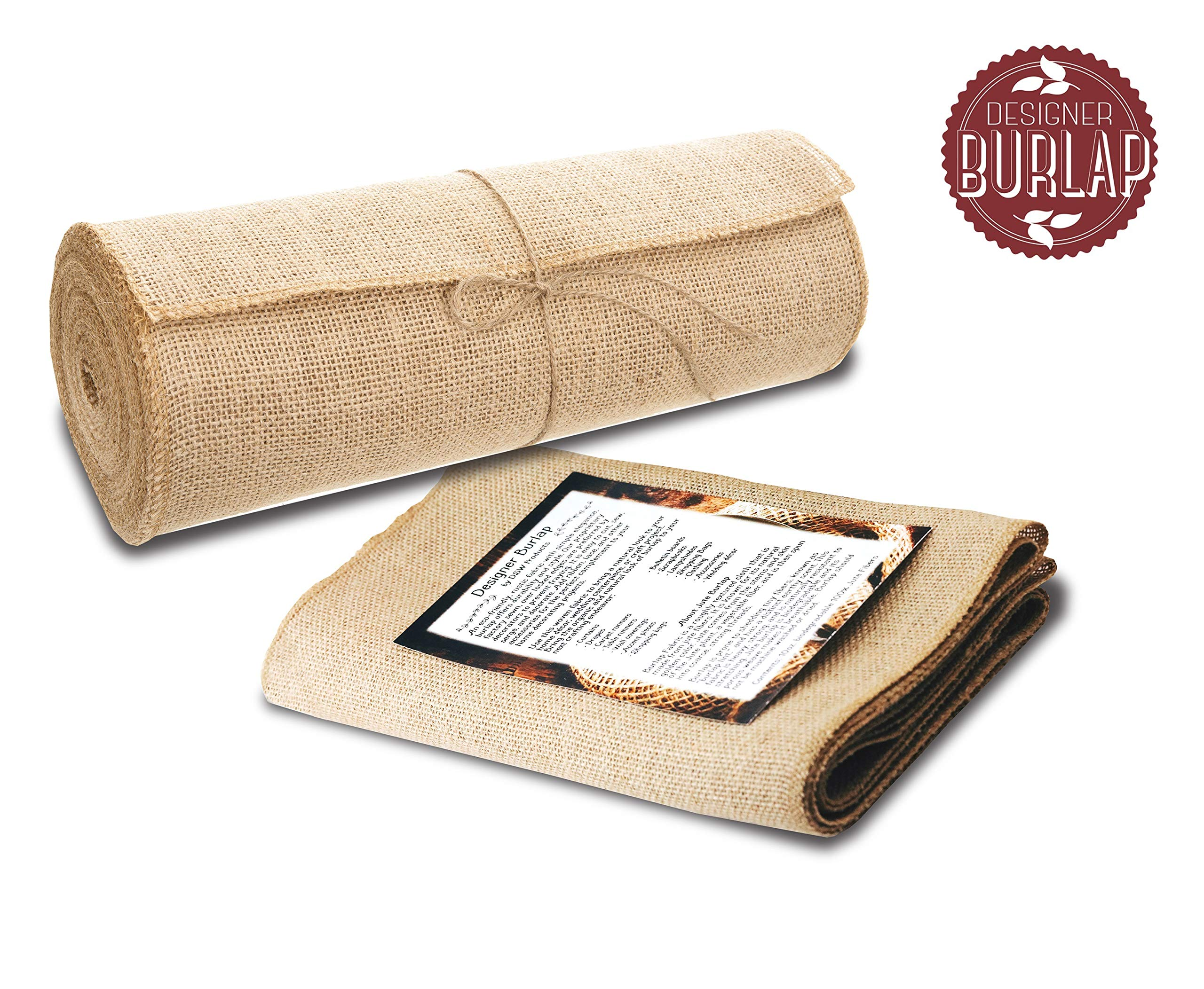 """Burlap Table Runners ~ 12"""" Wide X 10 Yards Long Burlap Roll ~ Burlap Fabric Rolls. A NO-FRAY Burlap Runner with OVERLOCKED and SEWN Edges for Rustic Weddings, Decorations and Crafts!"""