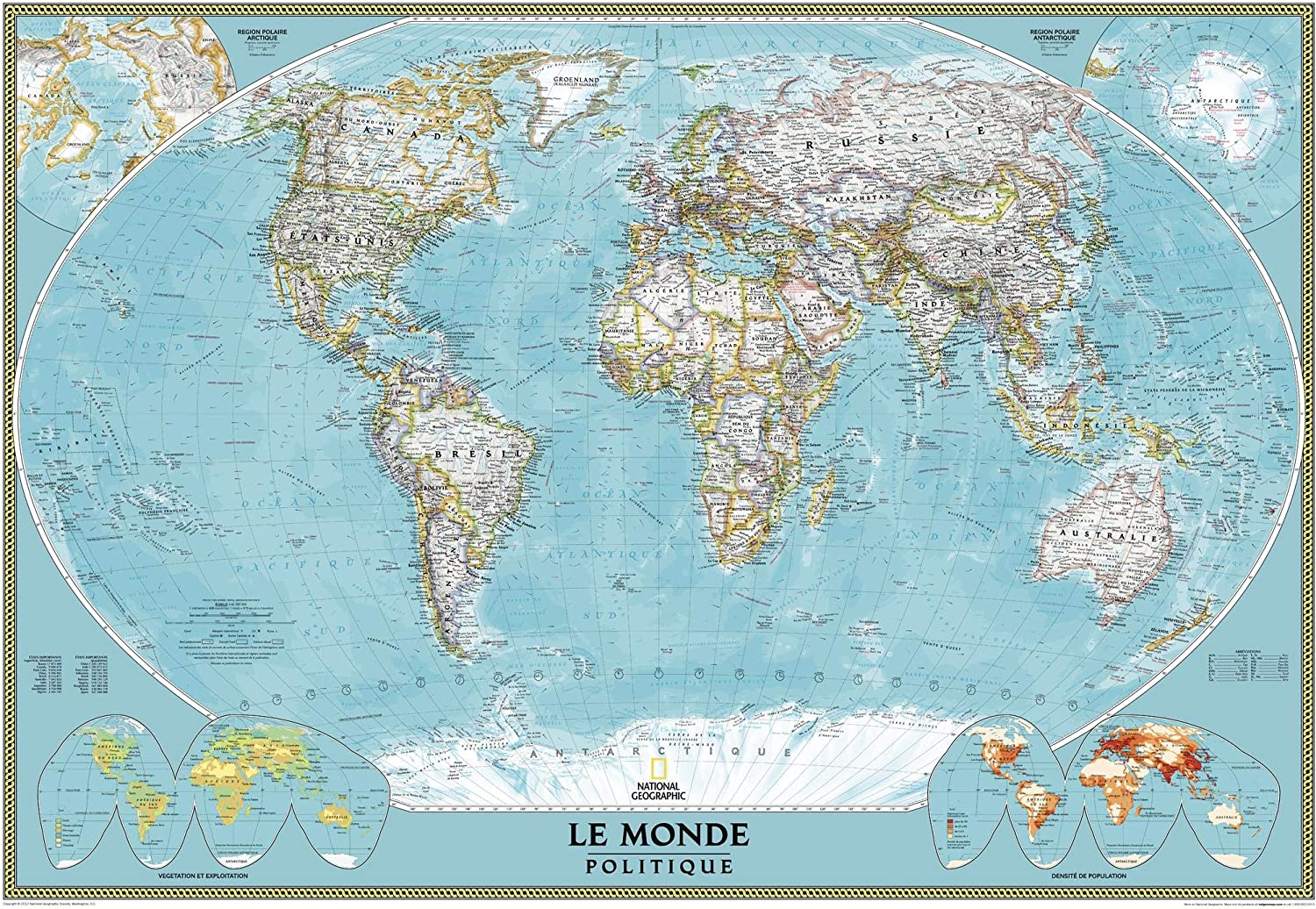 carte du monde en francais National Geographic French World Wall Map, Carte du Monde en