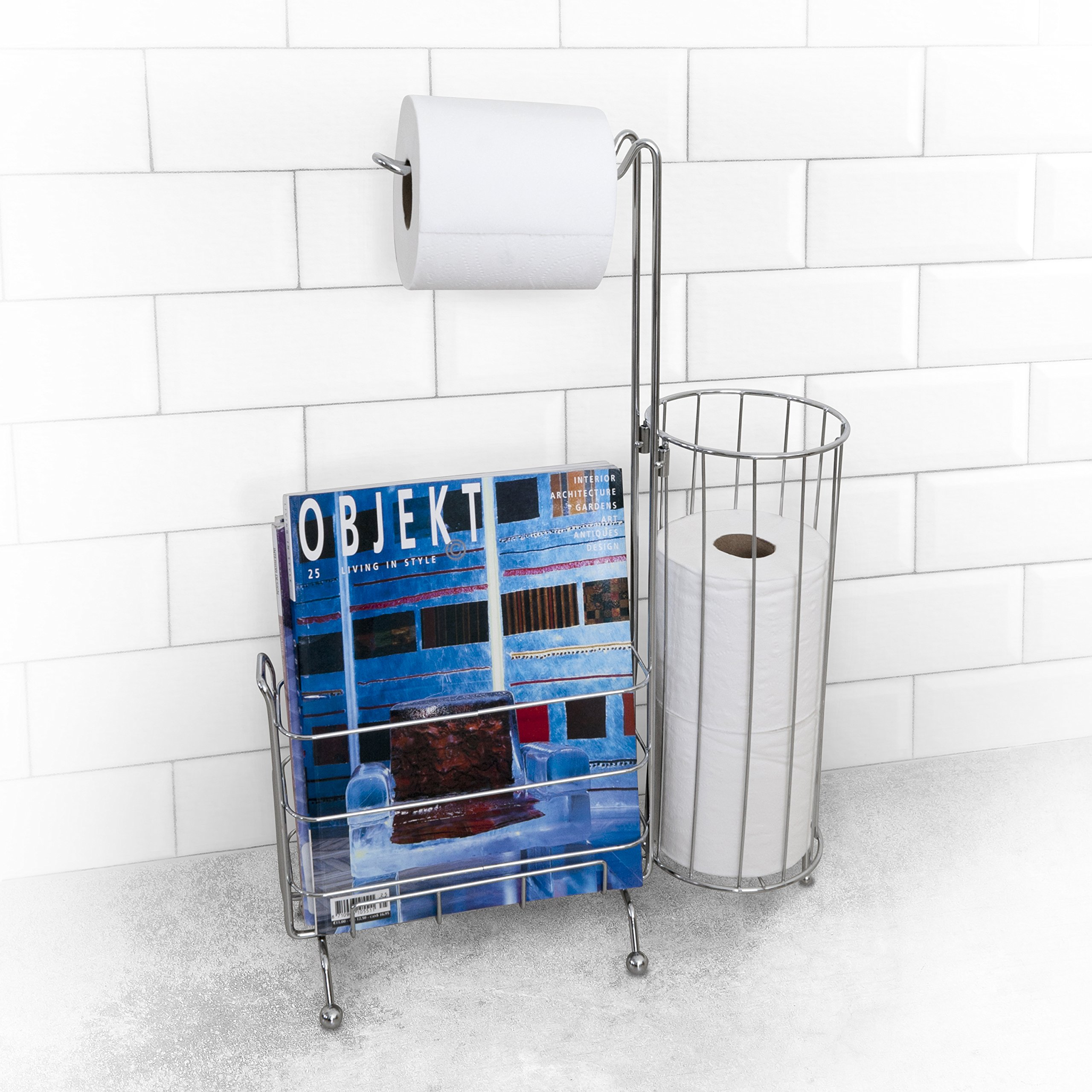 Splash Home Free Standing Toilet Paper Holder Plus A Storage For Books In The Bathroom 23 x 6 x 11 Inches Chrome by Splash Home
