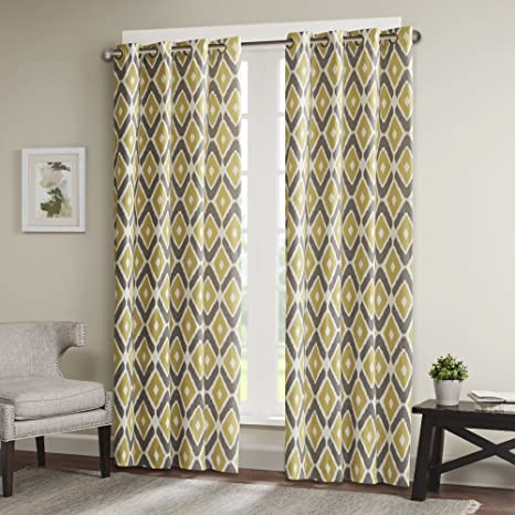 Madison Park MP40-2244 Yellow Living Room, Modern Contemporary Bedroom,  Ashlin Geometric Fabric Grommet Window Curtains, 50X84, 1-Panel Pack