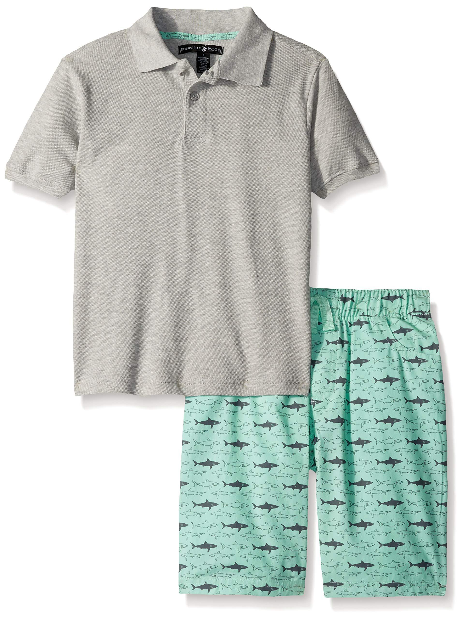 Beverly Hills Polo Club Boys' Little Sleeve top and Short Set, Grey Heather Shark 5/6