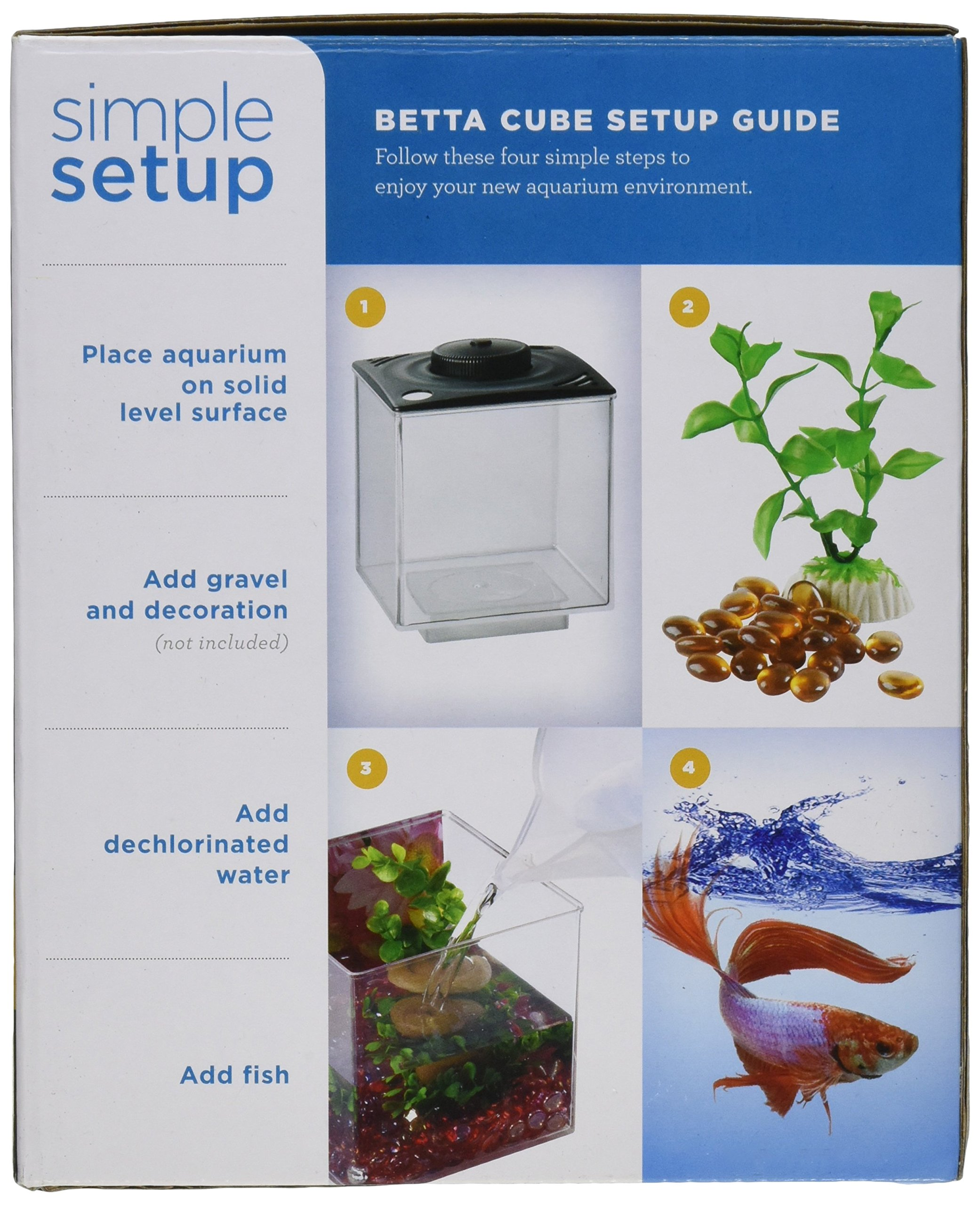 ELIVE 034160 Betta Cube with Led Light Black, 0.75 gallon