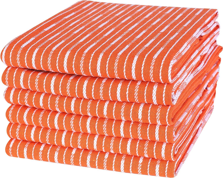 Life By Cotton 6Pk Brookyn Stripe Dish Towels, Kitchen Towels 18x28 Orange