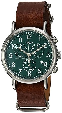 248c1d75f2a5 Timex Unisex TW2P97400 Weekender Chrono Brown Leather Slip-Thru Strap Watch
