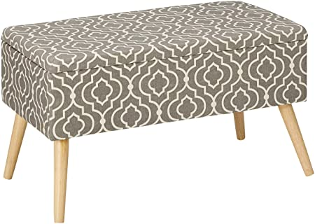 Otto Ben 30 Storage Bench – Mid Century Ottoman with EASY LIFT Top, Upholstered Shoe Ottomans Seats for Entryway and Bedroom, Moroccan Grey