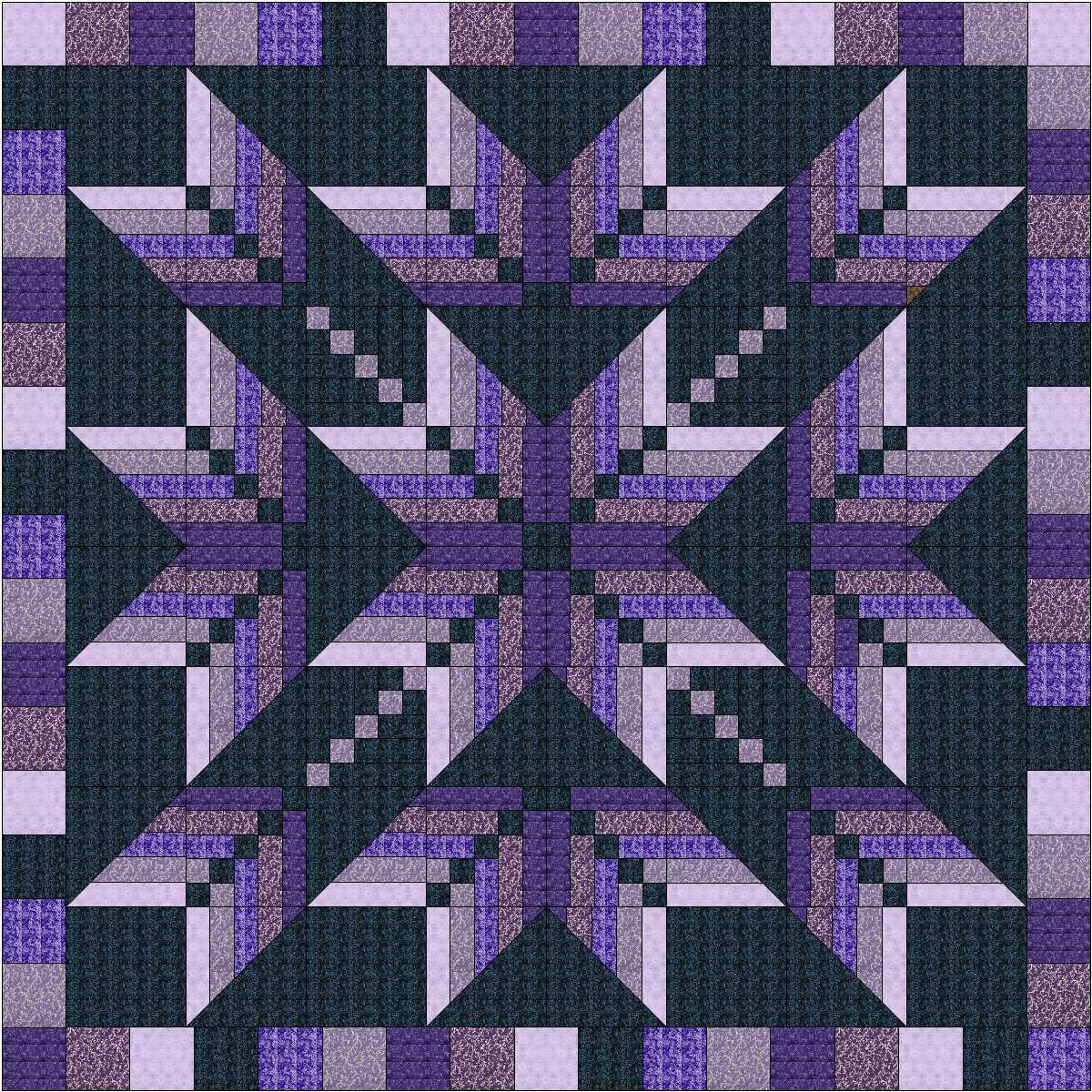 Easy Quilt Kit Exploding Star Purple 3D by Material Maven