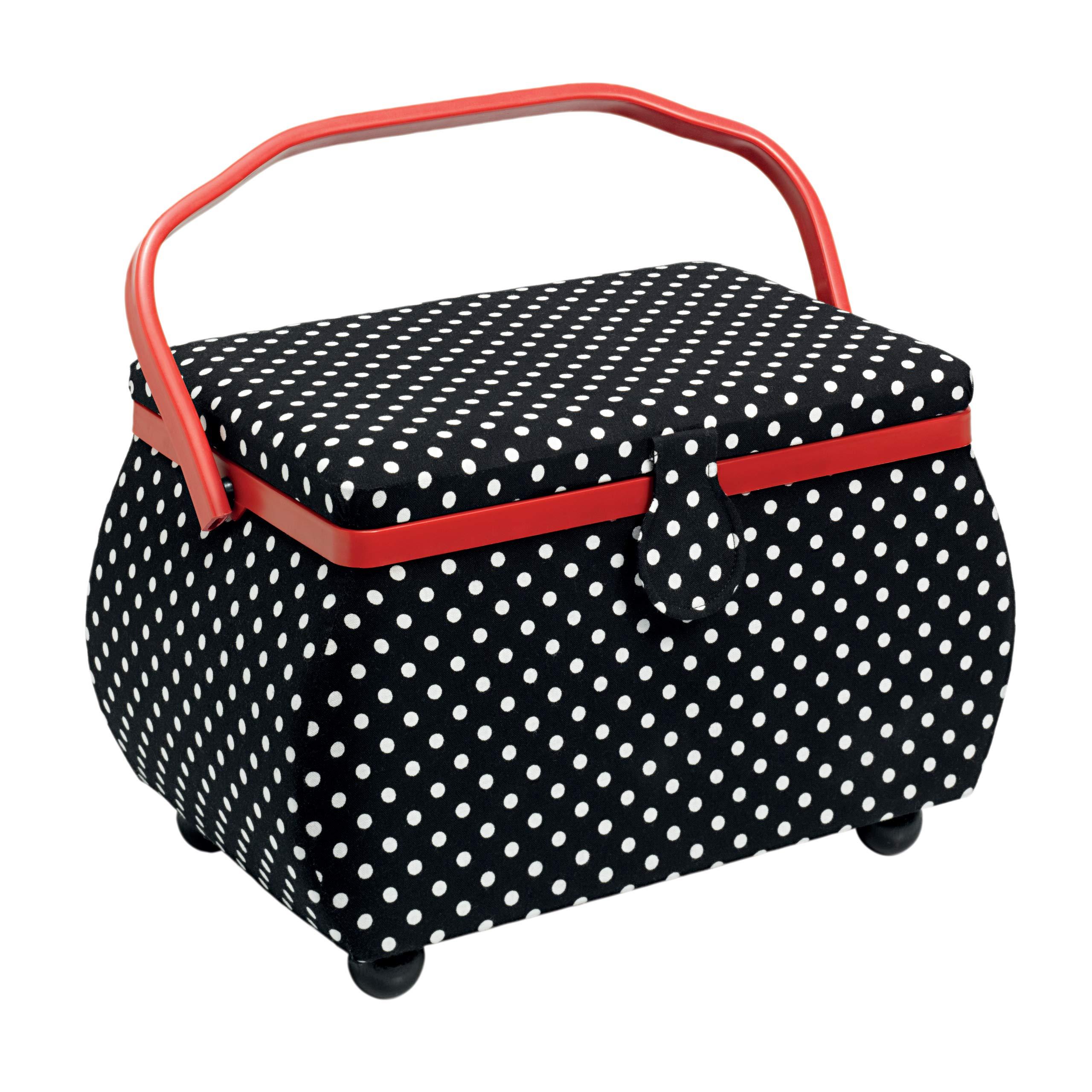 Prym 612246   Black & White Polka Dot Print Sewing Basket   32 x 20½ x 20cm by PRYM