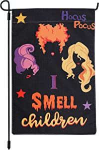 12.5 x 18 Inch Halloween Hocus Pocus Garden Flag Vertical Double Sized Retro Burlap Yard Flags Happy Halloween Witch Sisters Yard Outdoor Decorations