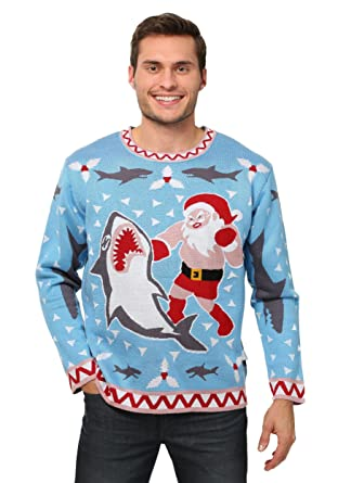 mens santa vs shark ugly christmas sweater 2x - Shark Christmas Sweater