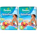 Amazon Price History for:Pampers Splashers Disposable Swim Diapers, 22 Disposable pants each, size 5, 2 Pack