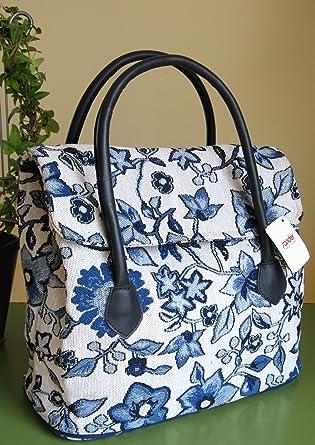 5a328f61adde6 Sander Tasche Handtasche MONTEGO blau Gobelin mit exotischem floralem Dessin