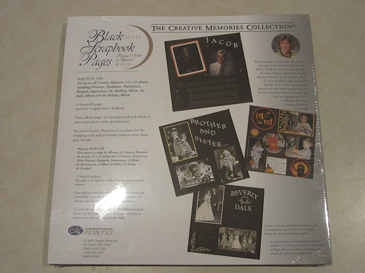 Creative Memories BLACK 12 x 12 pages - 15 scrapbook page sheets