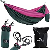 """RICHKA Double Camping Hammock-70 D Diamond Ripstop Nylon, 118""""L x 78""""W, Lightweight Parachute Portable Outdoor for Hiking-Travel-Beach-Yard, Support Up To 800lbs with 2 Tree Straps+2 steel carabiners"""