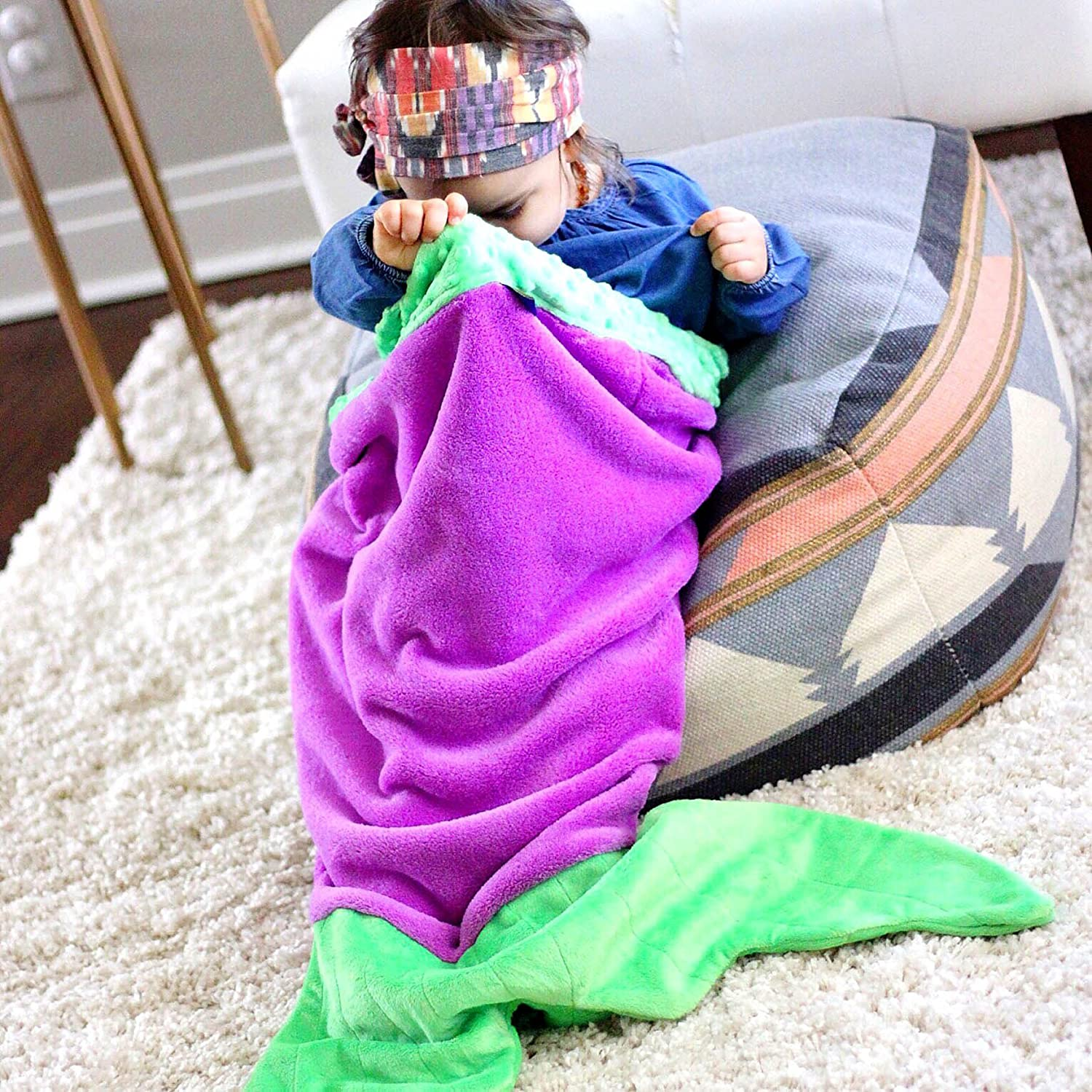 Perfect Purple and Seafoam Toddler Blanket for Girls BT0205 Blankie Tails Mermaid Tail Blanket for Toddlers Toddler Fleece Blanket That Lets Feet Fit Into The Tail
