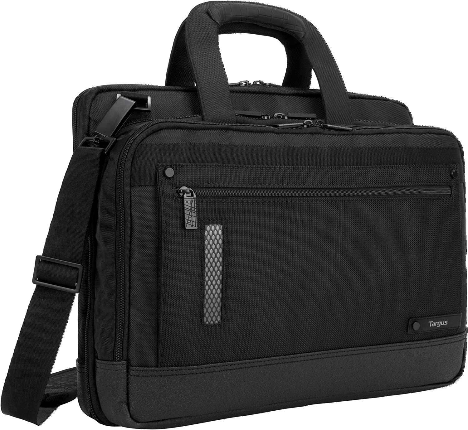 "Targus Revolution Travel Topload 15"" Laptop Briefcase for Business Professional with Checkpoint-Friendly TSA Screening, Zip-down Workstation Accessory Pockets, Trolley Strap, Black (TTL416US)"