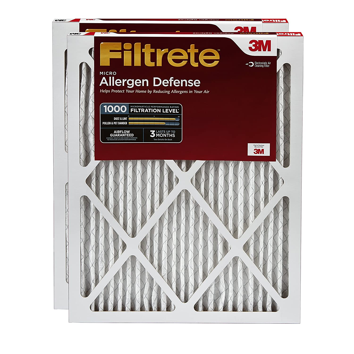 3. Filtrete 14x25x1, AC Furnace Air Filter, MPR 1000, Micro Allergen Defense, 2-Pack