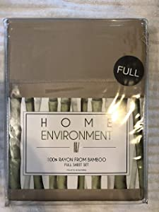Home Environment Beige Full Sheet Set 100% Rayon from Bamboo - Antibacterial Eco-Friendly