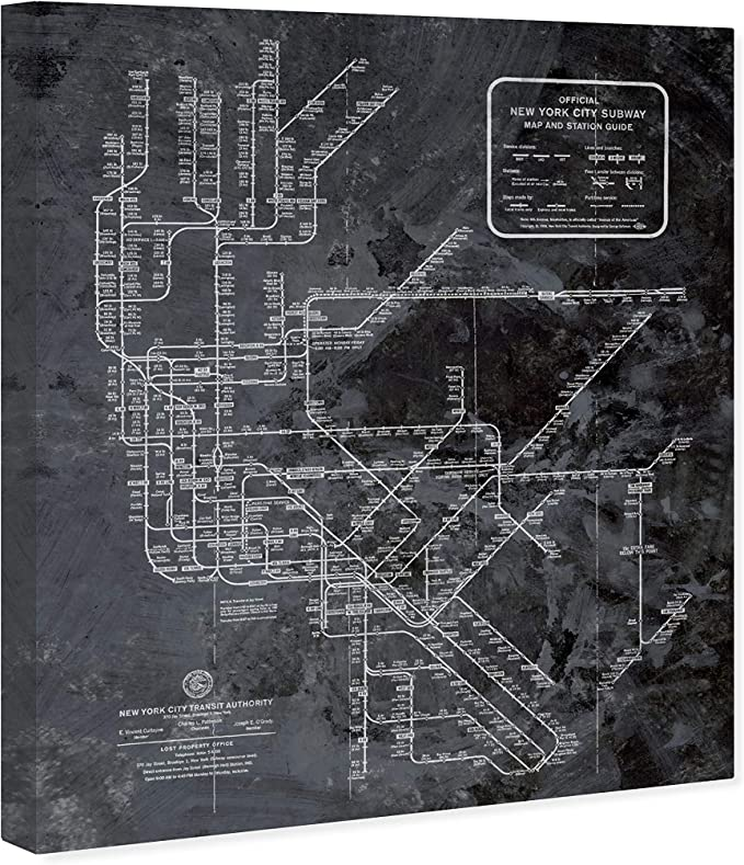 Amazon Com The Oliver Gal Artist Co Maps Wall Art Canvas Prints Ny Subway Map Dark Rustic Posters Prints
