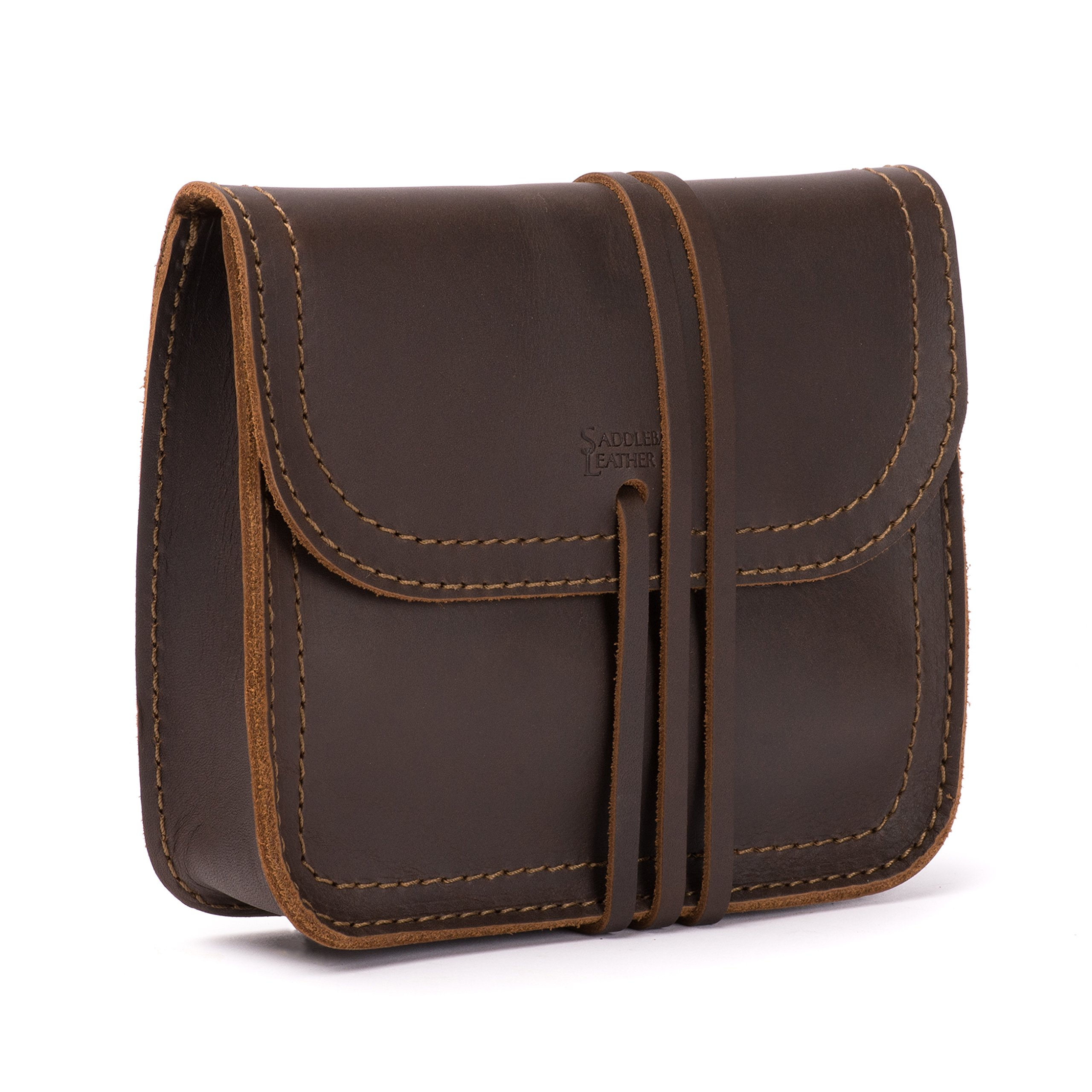 Saddleback Leather Cable Bag - 100% Full Grain Leather Electronic Organizer Pouch with 100 Year Warranty