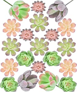 Seeko Mini Artificial Succulents - 20 Pack - Fairy Garden Accessories for Fairy Houses, School Projects, and Other Miniature Craft Kits (20)