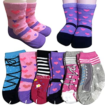 13b72ed168bc 6 Pairs Toddler Socks Gilrs Baby Non Skid Ankel Crew Dress Socks with Grips  Infant Anit