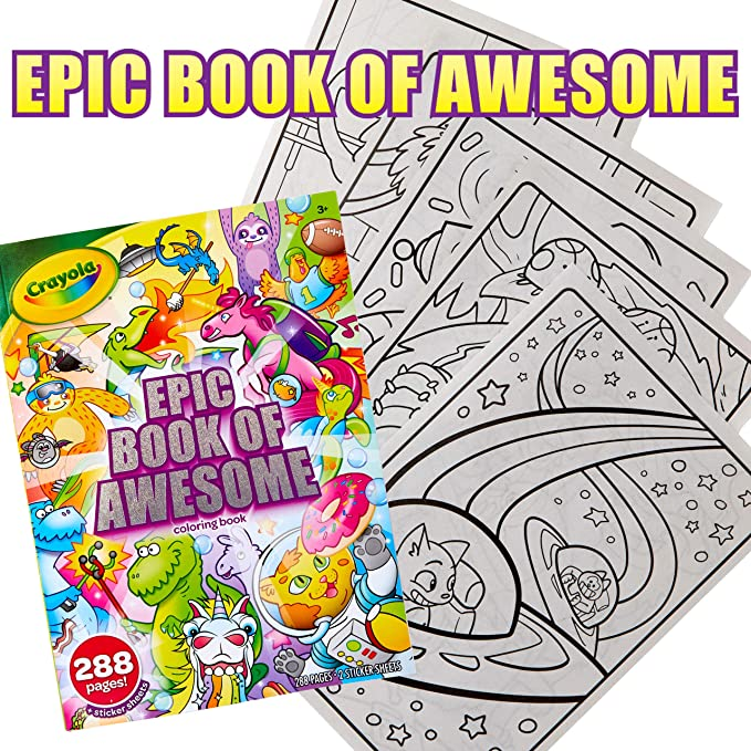 Amazon.com: Crayola Epic Book Of Awesome, All-in-One Coloring Book Set, 288  Pages, Kids Indoor Activities, Gift: Toys & Games