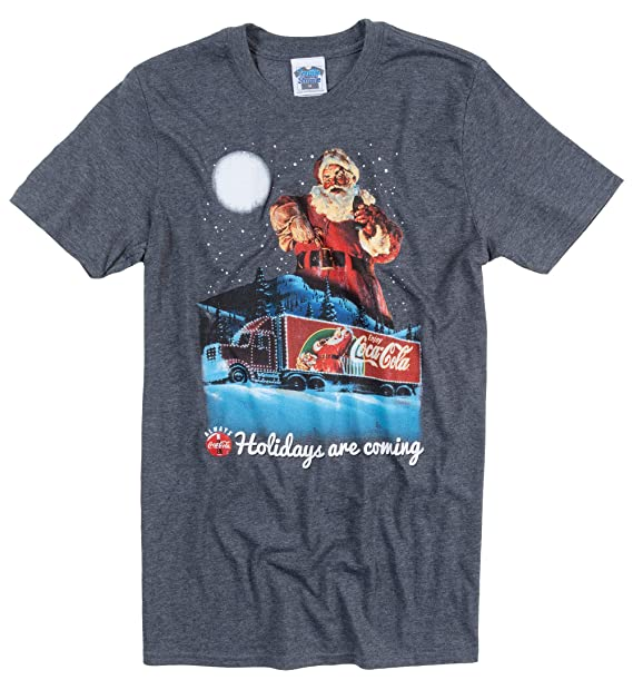b4616e2bc93c8f TruffleShuffle Mens Coca Cola Holidays are Coming Christmas T Shirt Blue